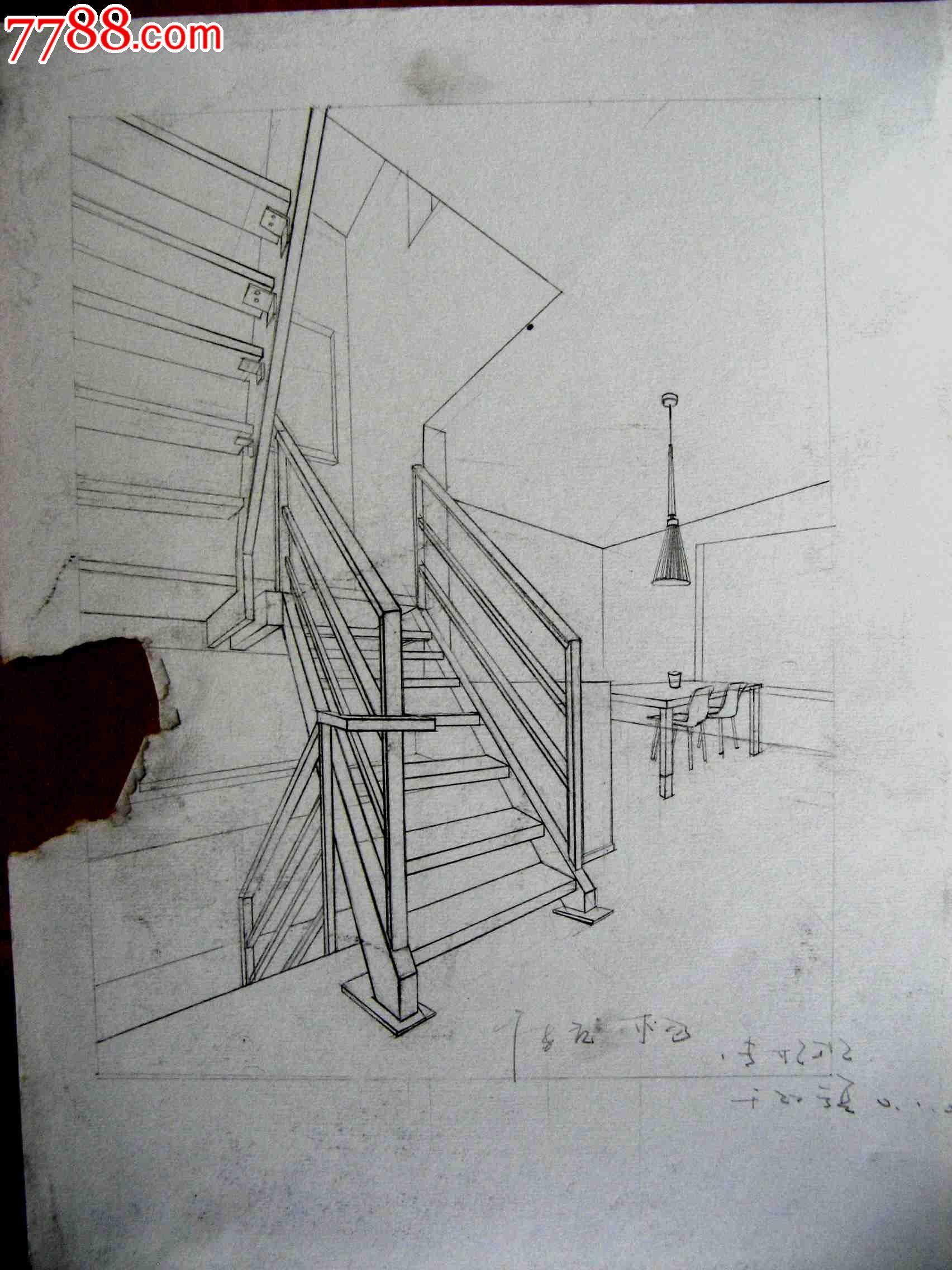 铅笔素描画2幅:室内楼梯