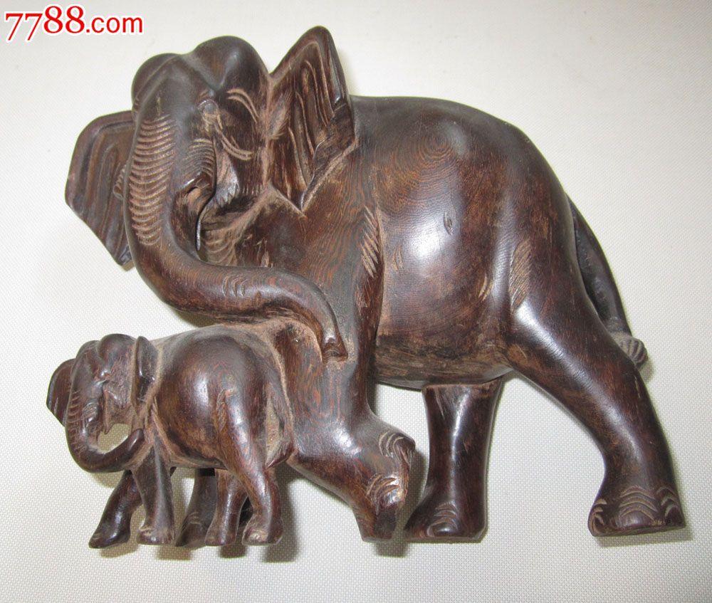 鸡翅木木雕大象木雕摆件