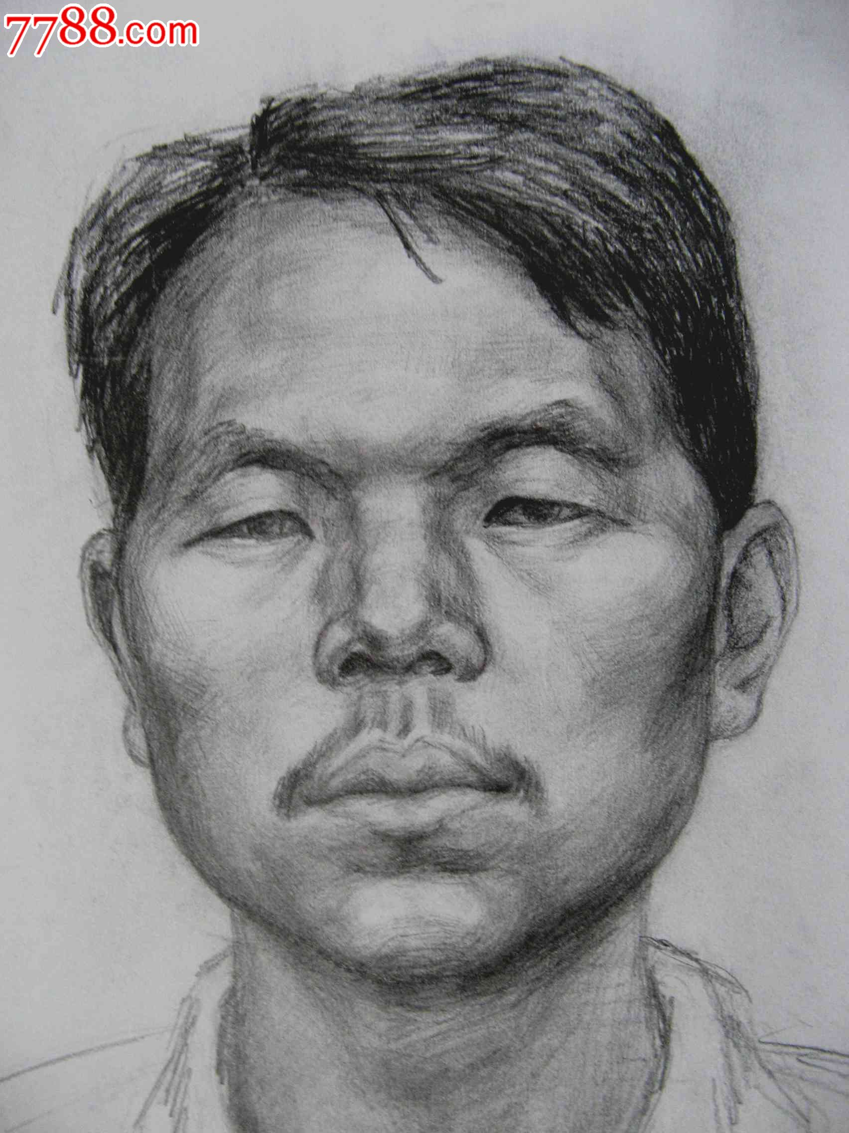 铅笔素描写生人物图:男子头像