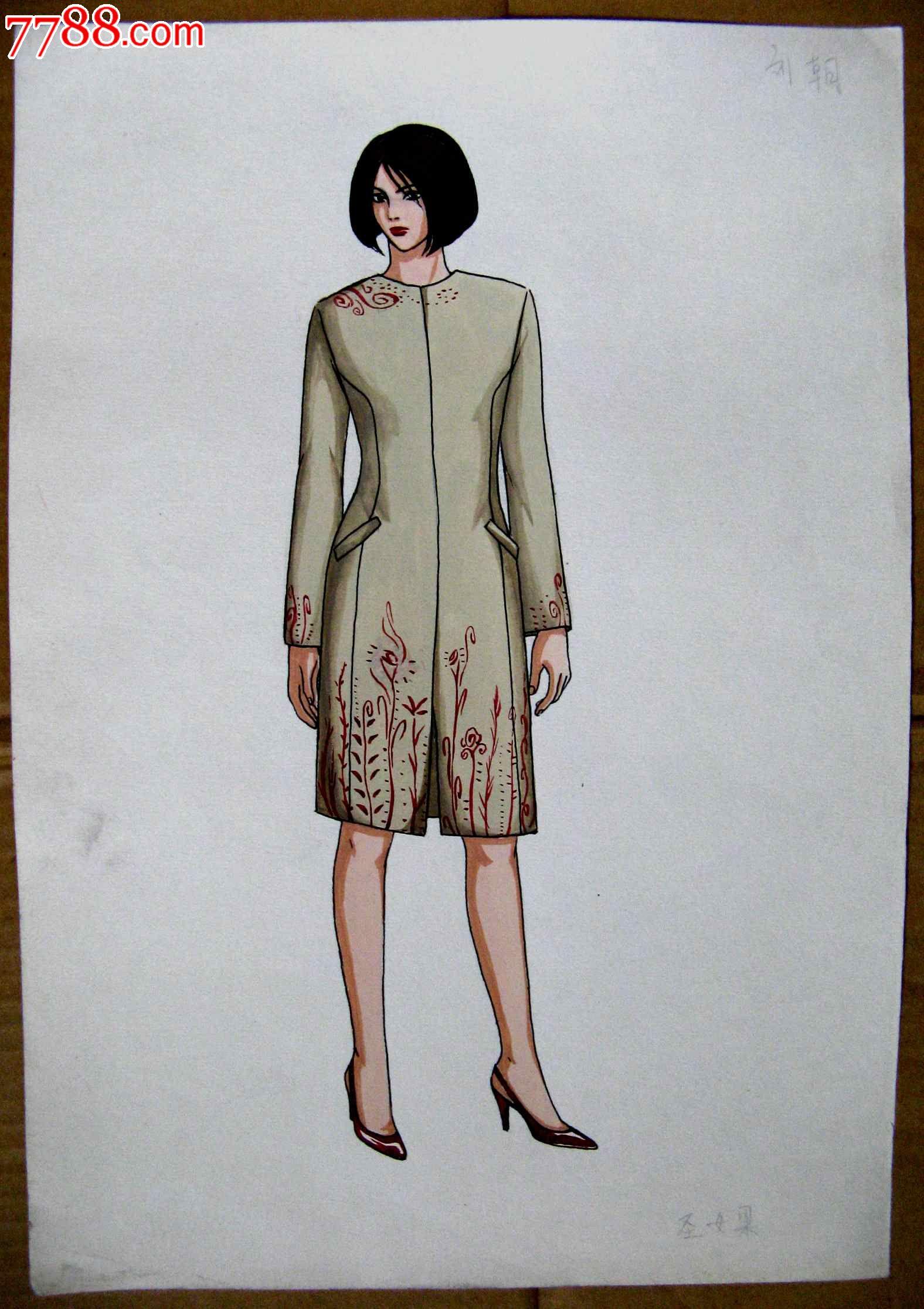 钢笔素描人物画:旗袍模特