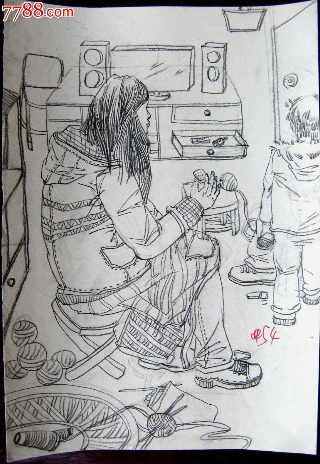 蒲公英素描铅笔画图片-铅笔素描人物画 母亲与孩子