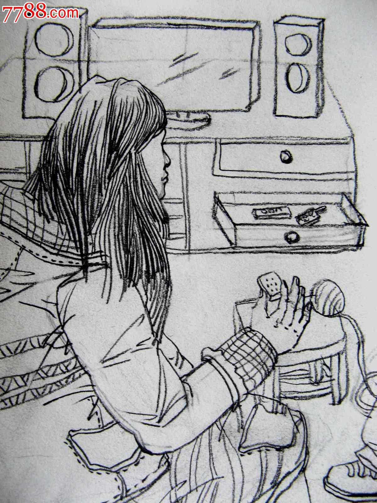 铅笔素描人物画:母亲与孩子