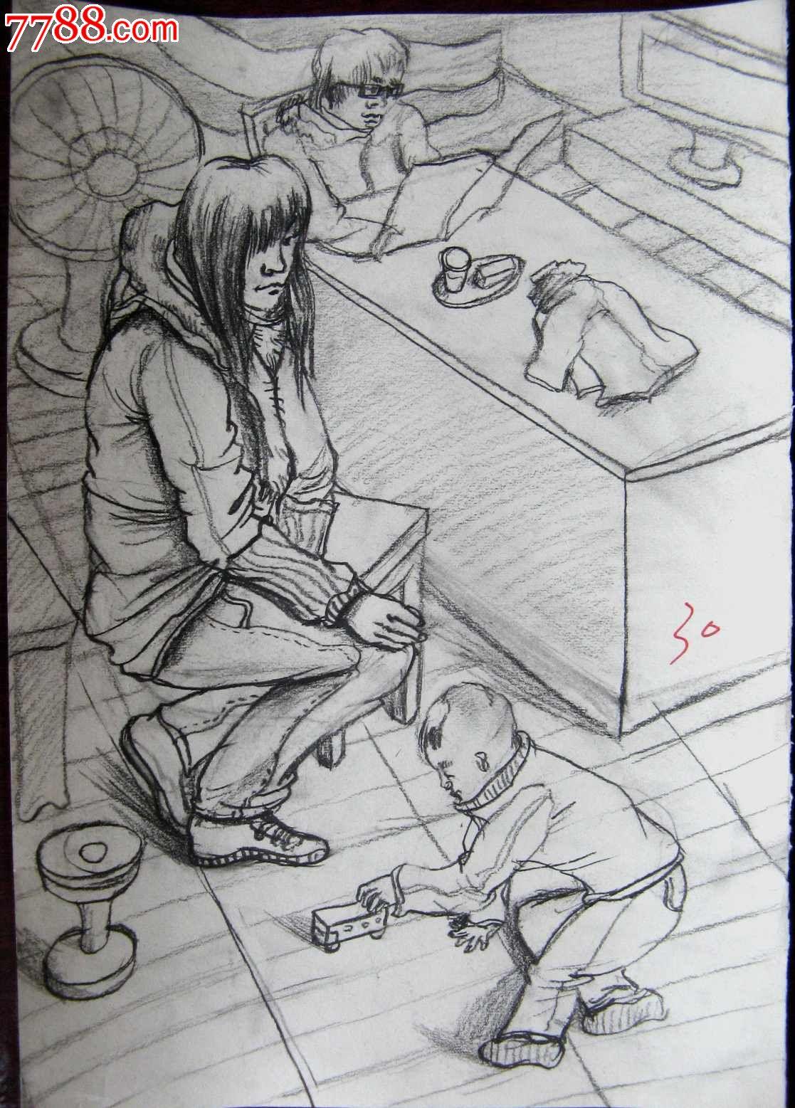 铅笔素描人物画:父母与孩子