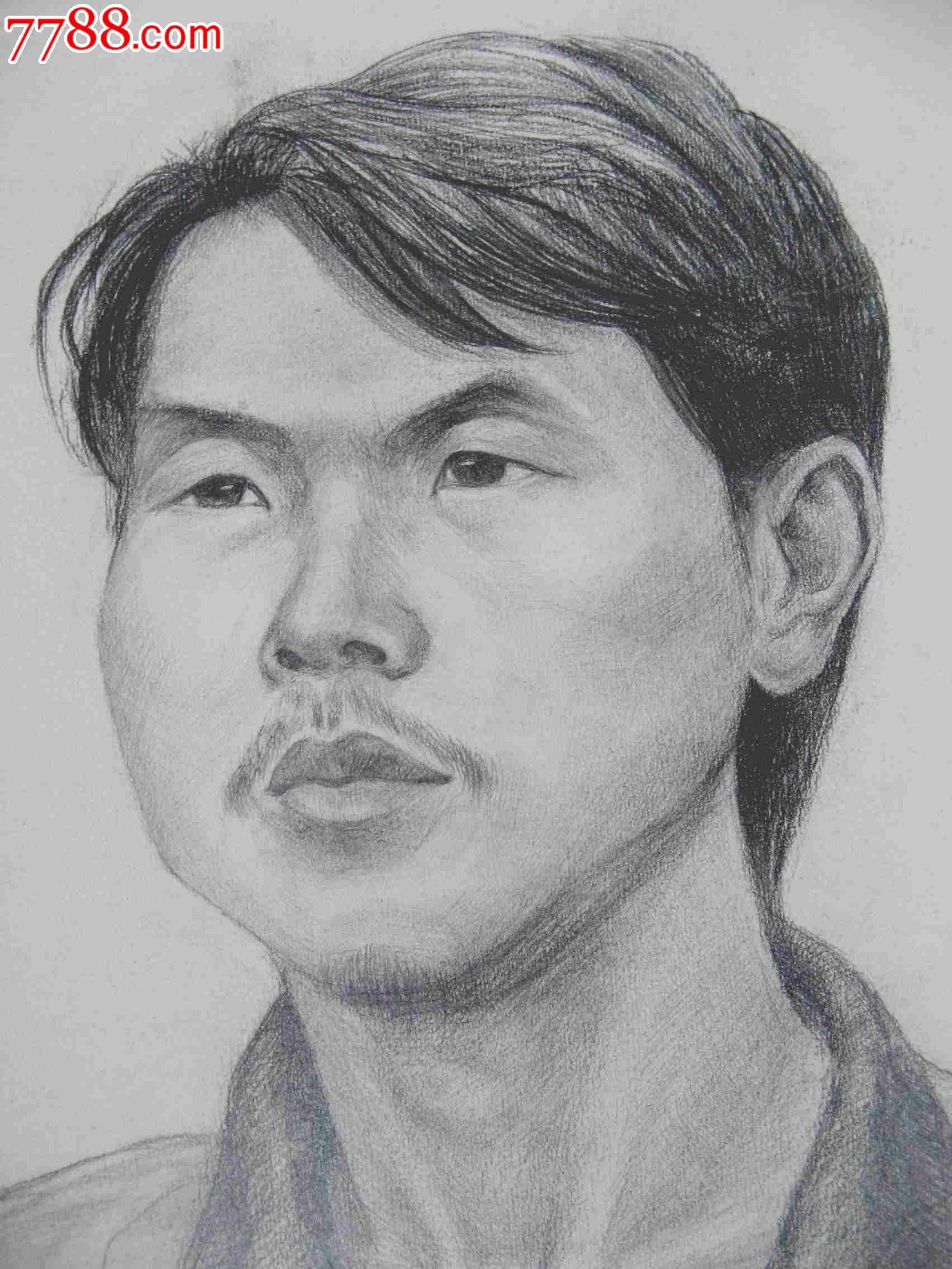 铅笔素描写生人物图:男青年头像