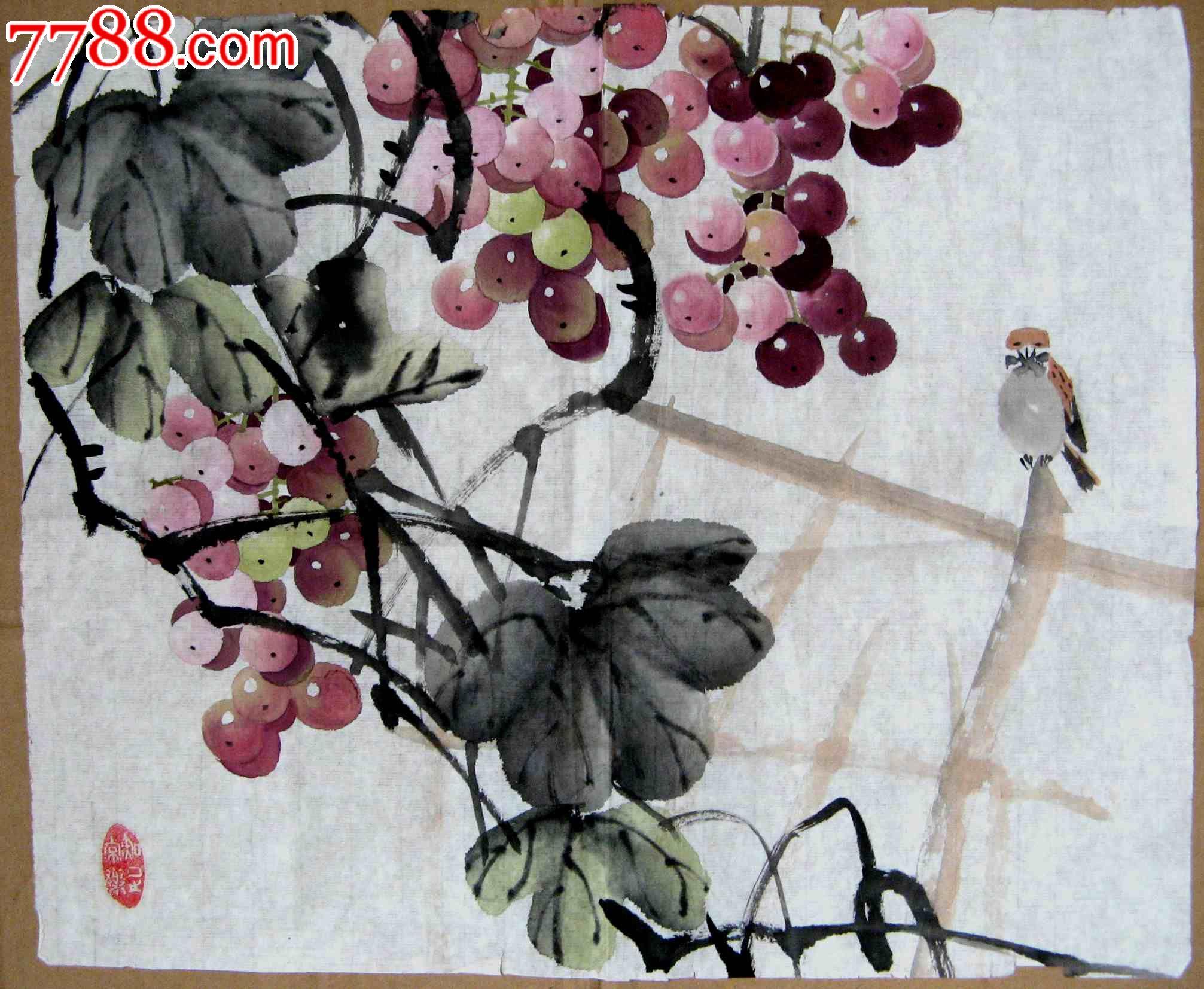 晶莹玉润的尺余横幅无款写意葡萄麻雀画:秋景无限好