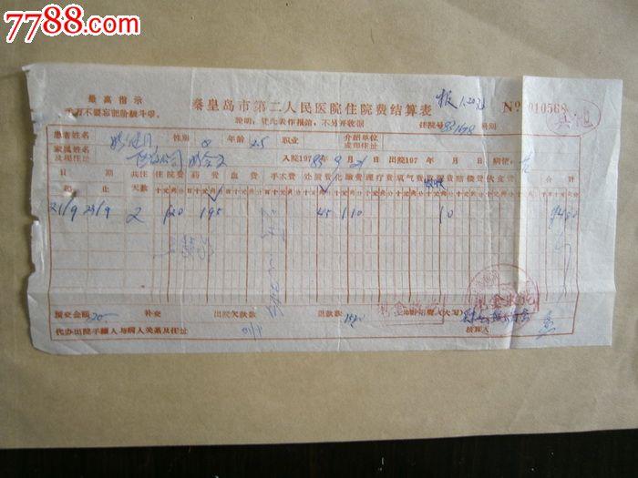 秦皇岛市第二人民医院住院费结算表