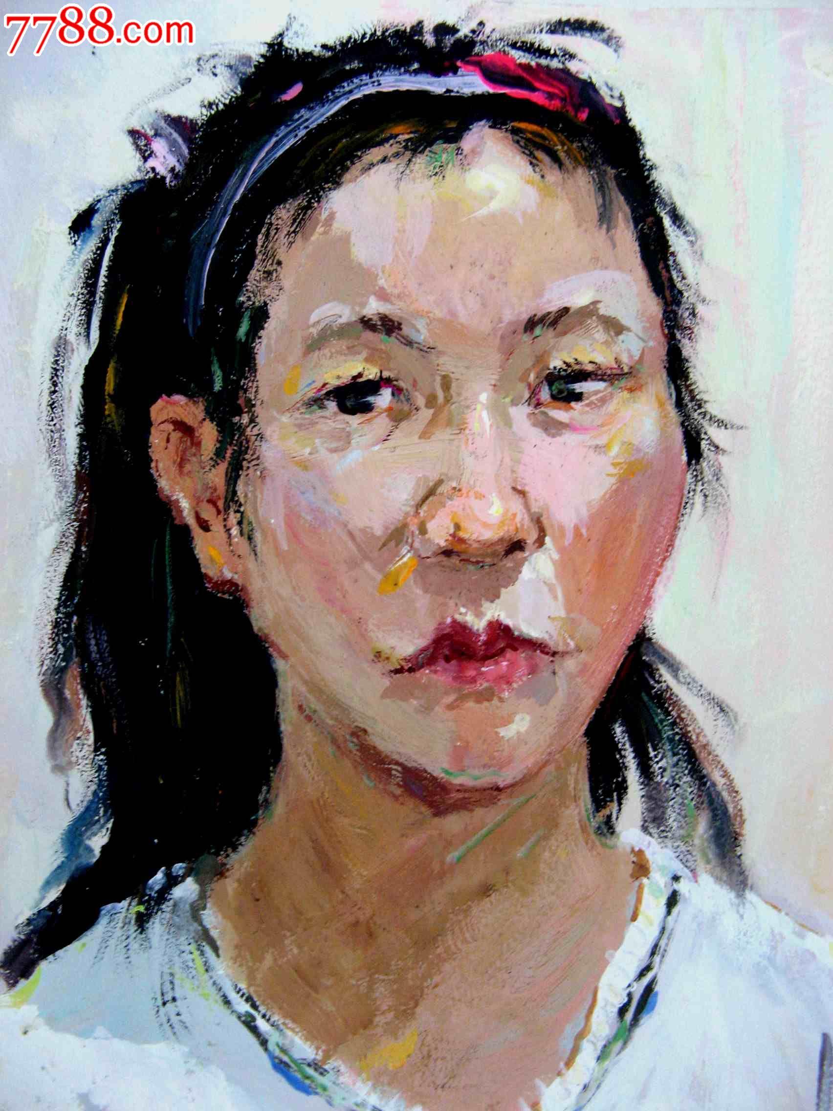 四开水粉人物画:白衫女孩