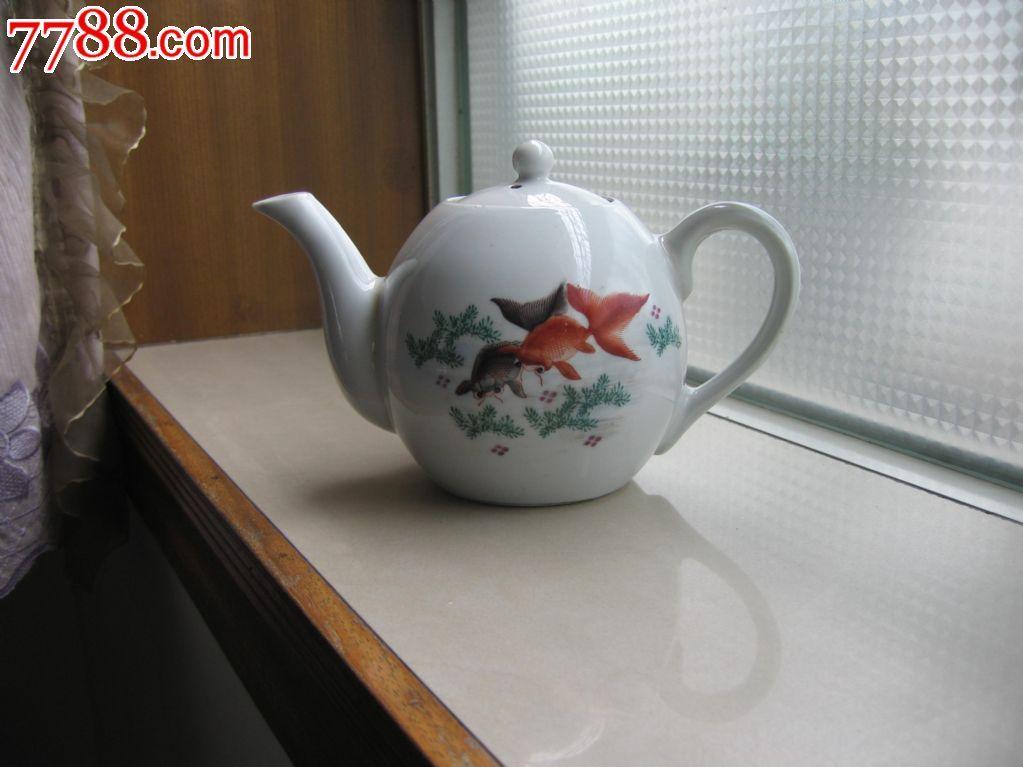 文革前醴陵出口瓷厂手绘金鱼茶壶