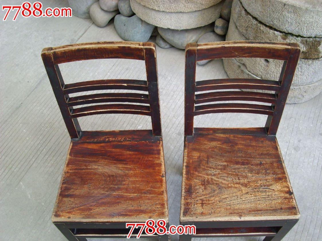 老实木家具56年香樟木靠背椅一对古玩杂项收藏老木器制品