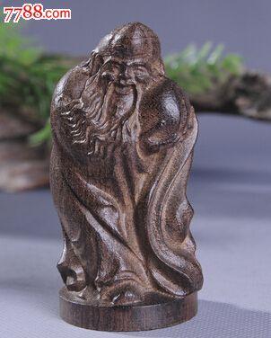 天然越南沉香木雕刻摆件寿星手把件7.5厘米