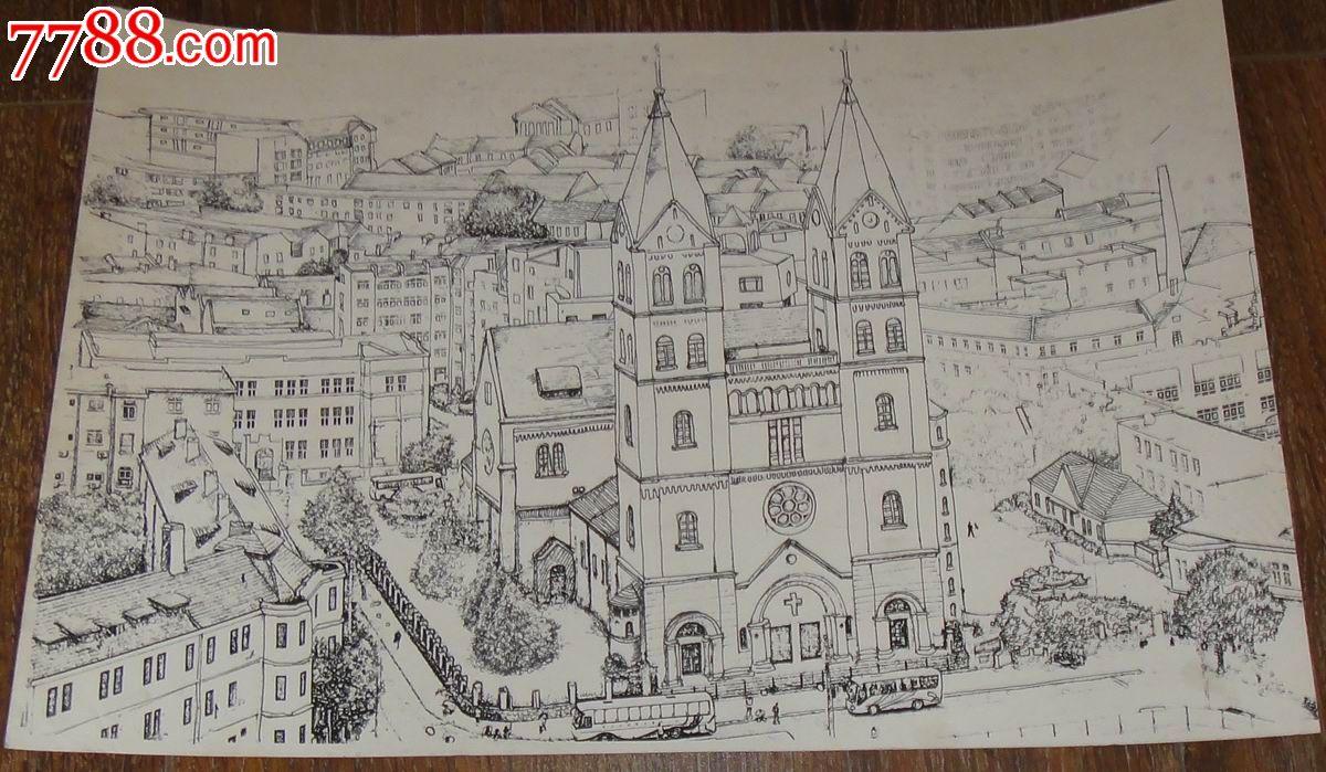 钢笔画【青岛天主教堂】-se24914135-素描/速写-零售