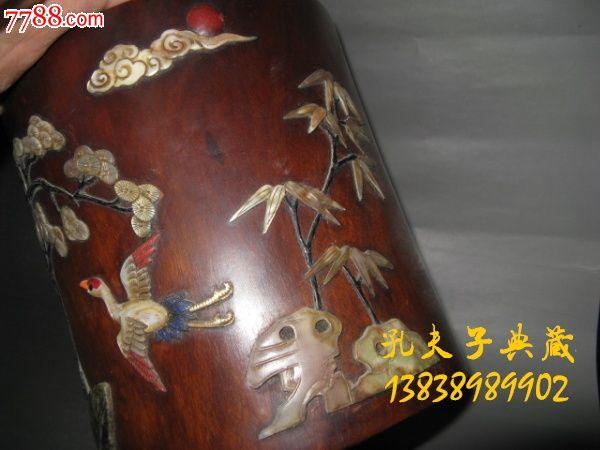 老木器老木雕笔筒花梨木镶嵌贝壳老寿山石古玉松鹤