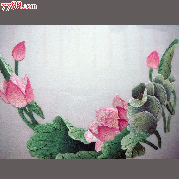 慕名湘绣老刺绣收藏精品-5已裱荷花组合2件_价格580元_第4张_7788收藏