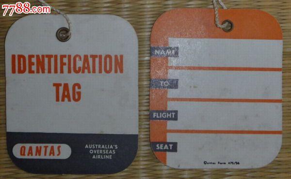 澳大利亚航空公司飞机票(单页.无旅客联),行李吊牌