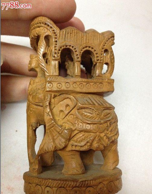 木雕大象和姑娘镇纸~~~,木佛像/人像,木雕佛像/人像,其他木质