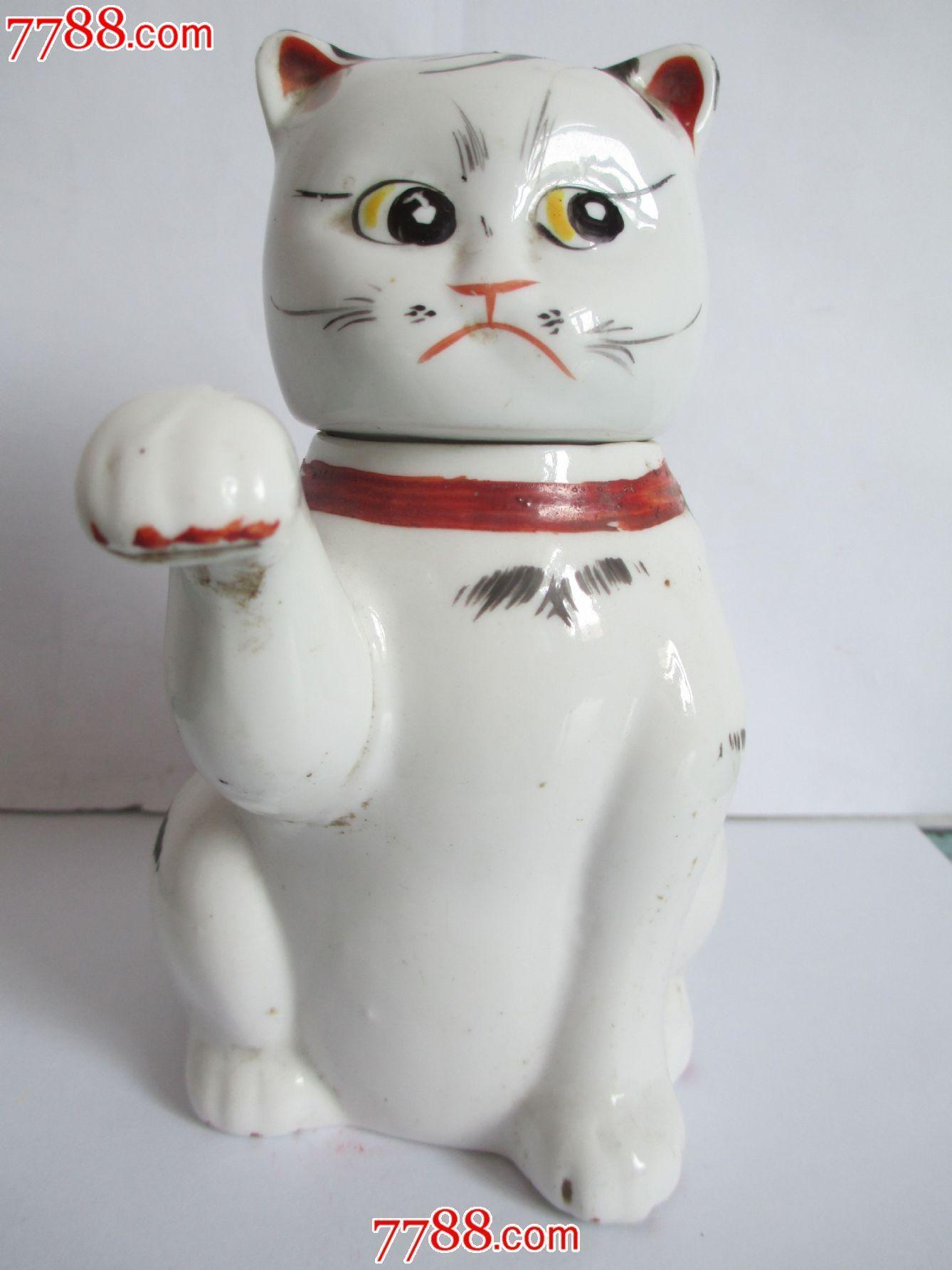 手绘招财猫茶壶