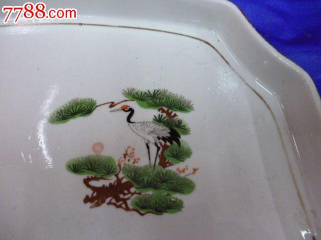 松树仙鹤图案异形瓷茶盘.茶具--13