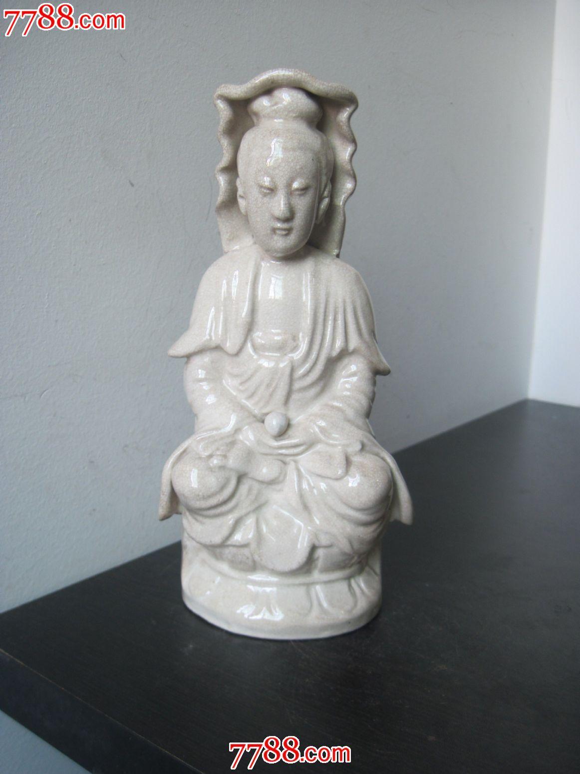 民国潮州枫溪窑单色釉白瓷观音老陶瓷摆件包邮