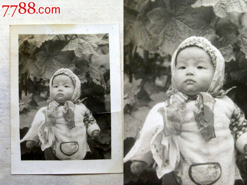 云南老照片收藏1408112-50年代扎纱巾的小可爱儿童4.