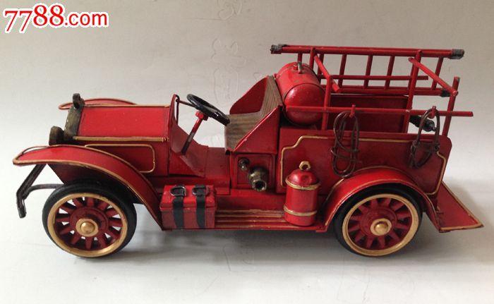 闲置手工制作铁皮汽车模型自制消防车模型