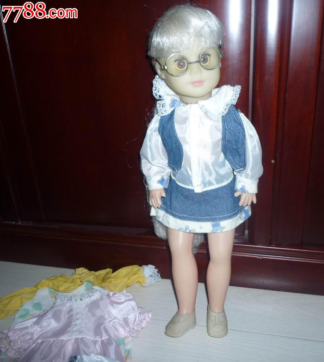 怀旧经典收藏老式胶皮戴眼镜可爱小女孩娃娃玩具