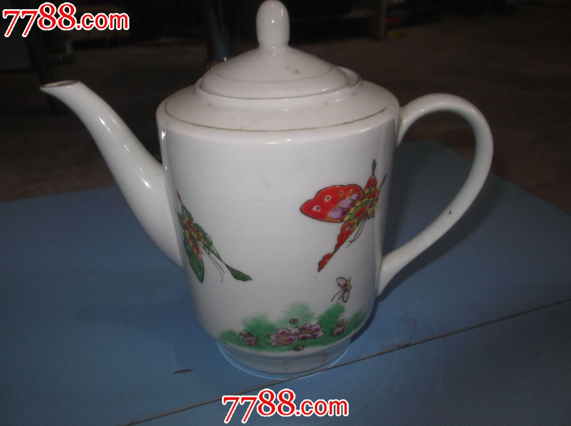 景德镇老瓷茶壶,手绘图,高19cm,把手至壶嘴长22cm