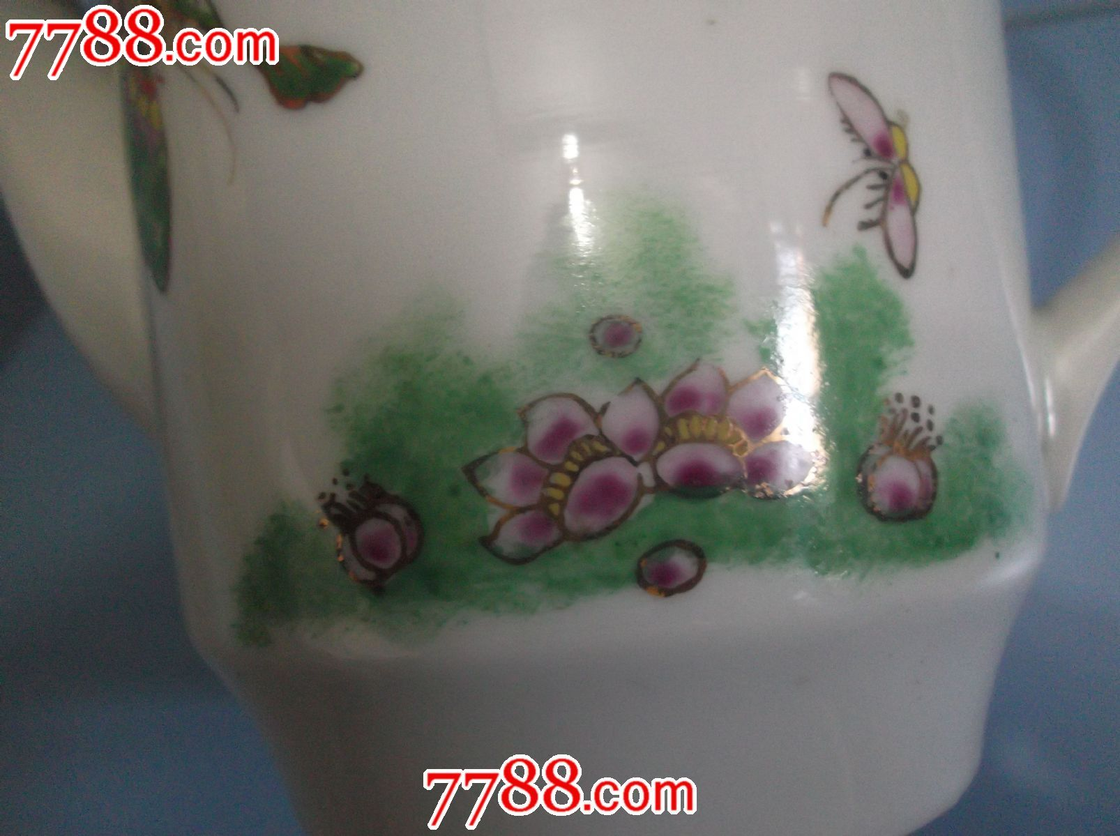 景德镇老瓷茶壶,手绘图