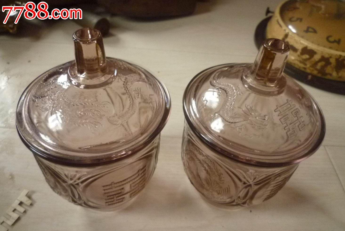 怀旧经典收藏老式双喜龙凤花纹茶粉色透明玻璃糖罐一对